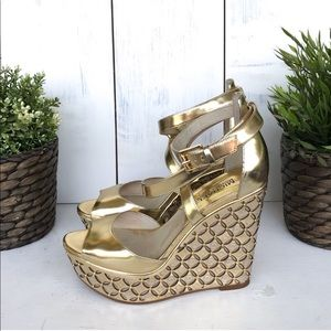 Michael Kors Gold Gabrielle Metallic Wedge